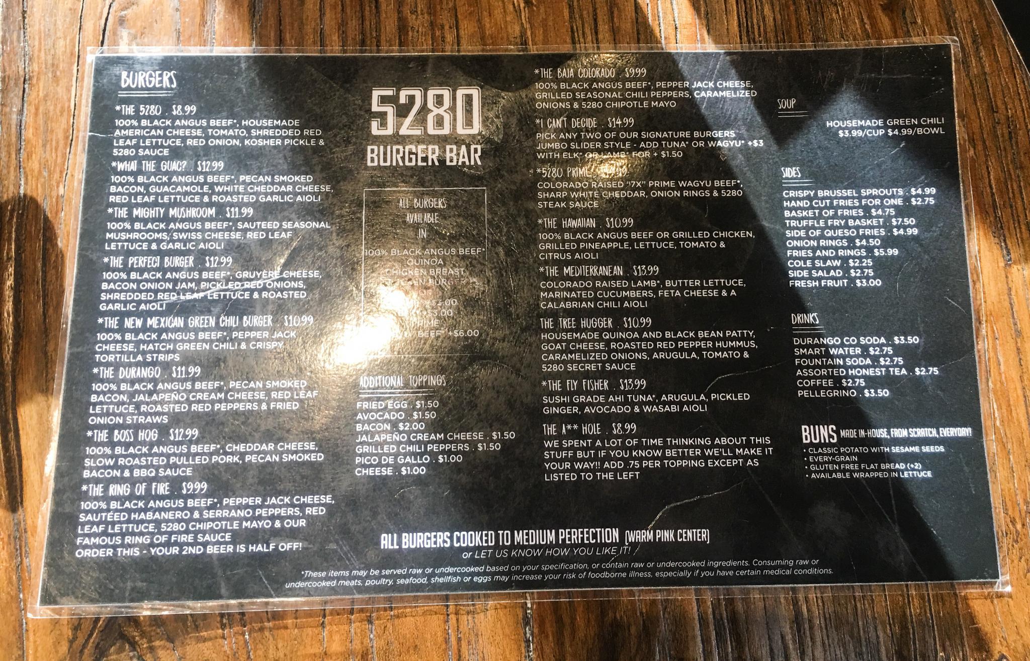 Menu at the 5280 Burger Bar