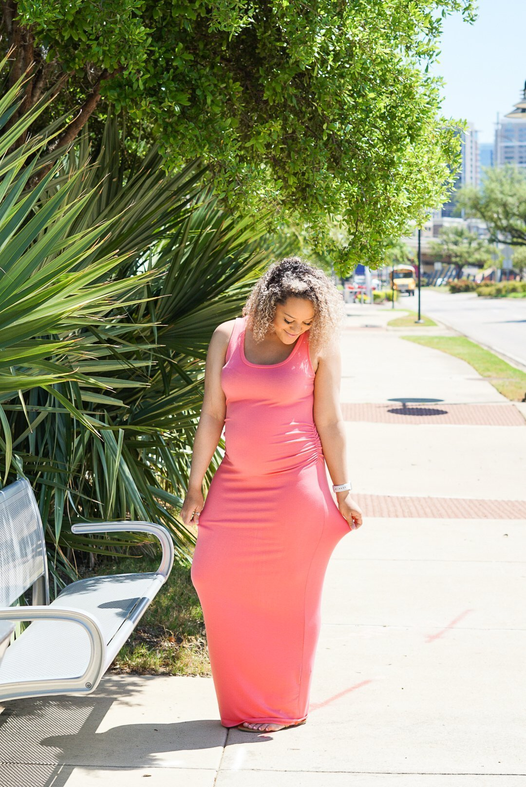 Coral Dress with Pink Blush